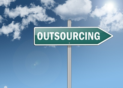 """Signpost """"Outsourcing"""""""