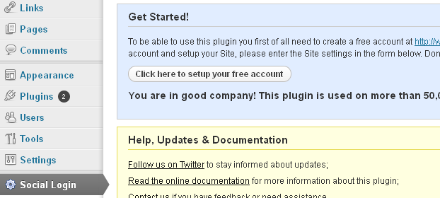social login setup
