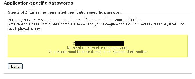 Application specific password
