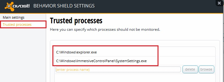 Avast Trusted Process