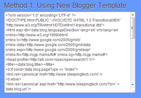 method 1 using new blogger template